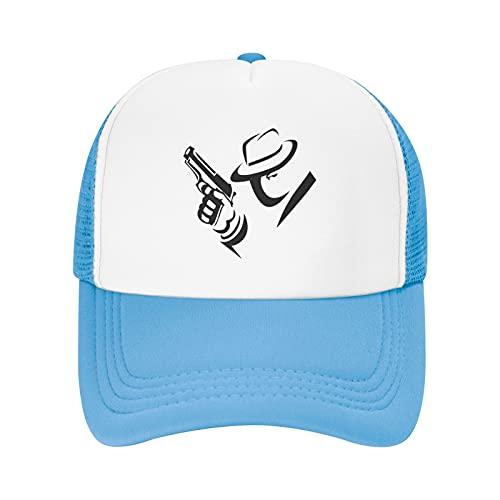 Vuegzt Chapéus de sol infantis Detective Mobster de malha ajustável para meninos e meninas adolescentes preto, Azul-celeste, 1-3
