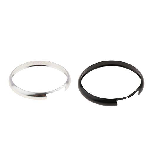 Gazechimp Paire de Anneau de Porte-Clés en Aluminium Protection de Télécommande de Porte Clé pour Mini Cooper (Argent et Noir)