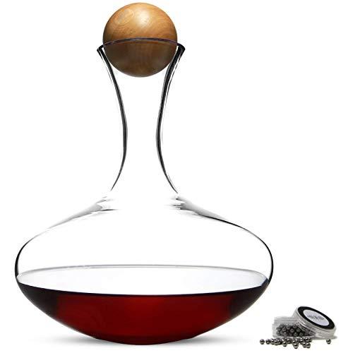 Maison & White Decanter per vino rosso da 2,5 l | Tappo di quercia e sfere di pulizia incluse Caraffa per vino aerante senza piombo | Regalo perfetto