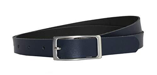 Vascavi Ledergürtel, 2 cm breit, Made in Germany, echt Leder Gürtel für Damen, als Hüftgürtel, kürzbar (105 cm Gesamtlänge 115 cm, Dunkelblau)