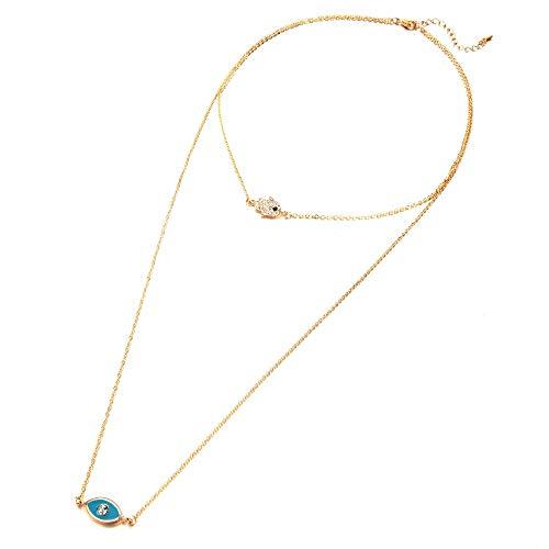 Revilium Collar De Ojo Malvado Azul Verde para Mujer, Accesorios De Joyería Tibetana En Capas, Colgante De Mano De Cristal Hamsa, Collar Delicado