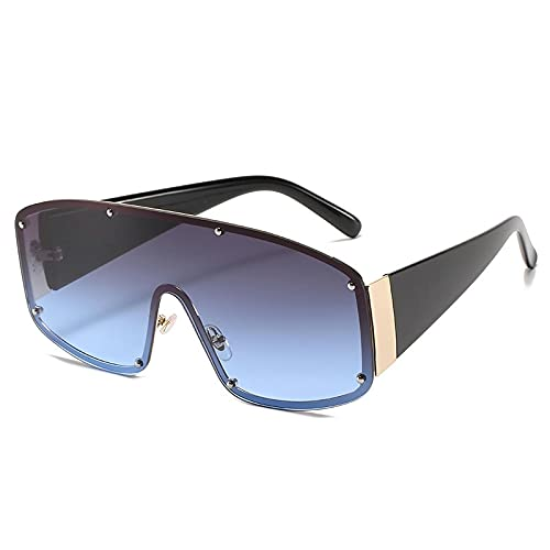 Gafas de sol graduadas de espejo cuadrado de una pieza de gran tamaño sin montura para mujeres y hombres Uv400 gafas con remaches tonos gris azul