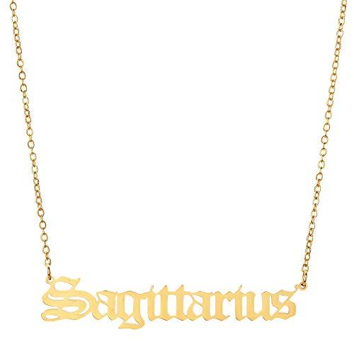 12 Collar De Signo del ZodíAco, Antiguo Collar De AstrologíA Inglesa, Collar De HoróScopo, Collar Colgante De Letra, JoyeríA De CumpleañOs para Mujeres NiñAs