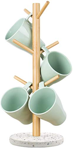 Topsky Tassenhalter,Becherhalter,Kaffee Tassenhalter mit 6 Haken,Kaffee Becherhalter für Theke,Kaffeetassenregal aus Harz mit Bambus(Terrazzo)