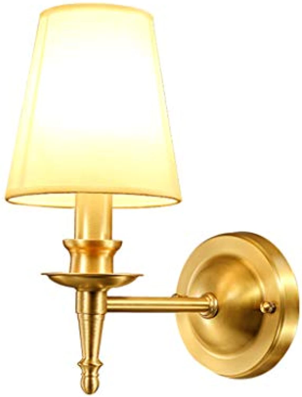 Global-light American Style Full Kupfer Wand Lampe Schlafzimmer Nachttischlampe European Simple Living Room Single Wandleuchte
