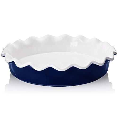Teocera Porcelain Pie Pan for Baking, Pie Dish, Round Pie Plate with Ruffled Edge - 10.5 Inches for Apple Pie, Pot Pies - Set of 1, Navy