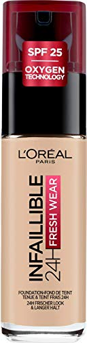 L'Oréal Paris Infaillible 24H Fresh Wear Make-up 130 True Beige, hohe Deckkraft, langanhaltend, wasserfest, atmungsaktiv, 30ml