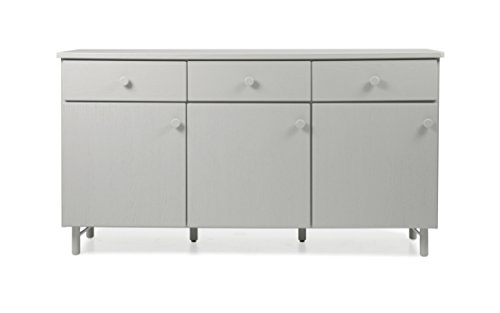 TENZO Grain Designer Bahut 3 Portes, 3 tiroirs, Chêne, Gris, 180x46,5x96 cm