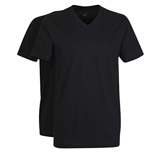 Bugatti Herren T-Shirt schwarz Uni 2er Pack 58