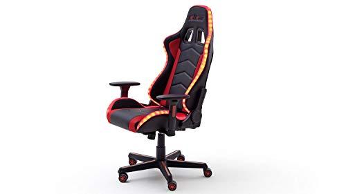 Möbel Akut Gamingstuhl Drehstuhl Bürostuhl Gamingchair Schreibtischstuhl Chefsessel Gaming-Stuhl McRacing rot schwarz inkl. LED 12 Farben