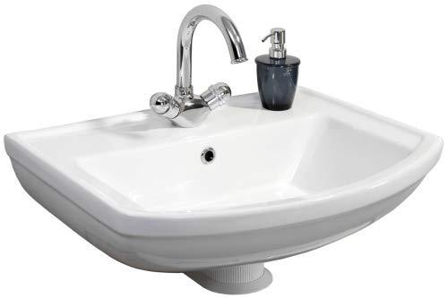 FACKELMANN Keramik Waschbecken Star/Waschtisch aus Keramik/Maße (B x H x T): ca. 61 x 18 x 48,5 cm/geschwungene Form/hochwertiges Becken fürs Badezimmer und WC/Farbe: Weiß/Breite: 61 cm