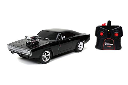 Jada Toys Fast & Furious 1:16 1970 Dodge Charger RT Remote Control Car 2.4 GHz Black, Toys for Kids and Adults, Glossy Black (97584)