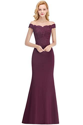 MisShow Damen Spitzen Shulterfrei Chiffon Ballkleid Herzform Festkleid Stickerei Kleid lang Dunkel Lila 42