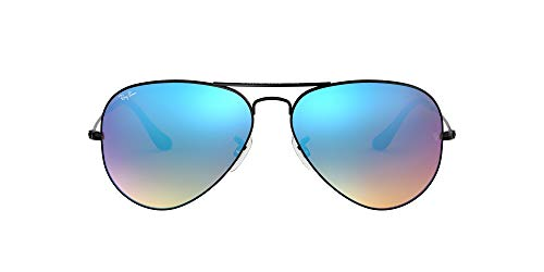 Ray Ban Unisex Sonnenbrille RB3025, Gr. Large (Herstellergröße: 58), Schwarz (Gestell: schwarz, Gläser: gespiegelt blau verlauf)