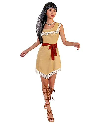 GIKING Pocahontas Costumes for Women,Hide Huntress Sleeveless Costume Dress Halloween Cosplay Skirt with Brown Belt