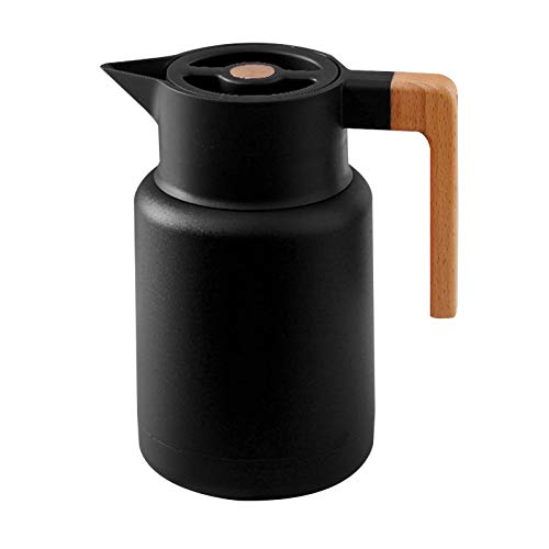 Jarra térmica de acero inoxidable de 1,3 l, doble pared aislada al vacío con mango de madera, termo aislada al vacío para café, té, bebidas