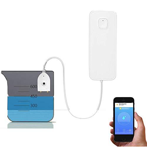 Alarma del sensor de nivel de agua inteligente para la señalización de agua WiFi, no necesita concentrador de costes, funciona con pilas, alertas de alarmas TUYA/Smart Life App