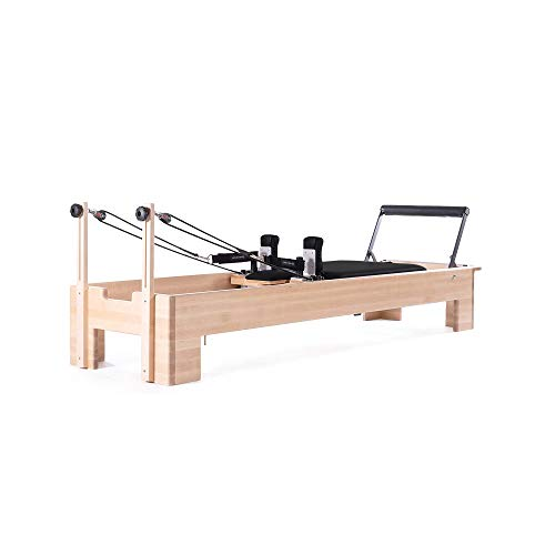 balanced body Studio Reformer, Pilates Exercise Equipment with Classic Foot Bar, Black Upholstery