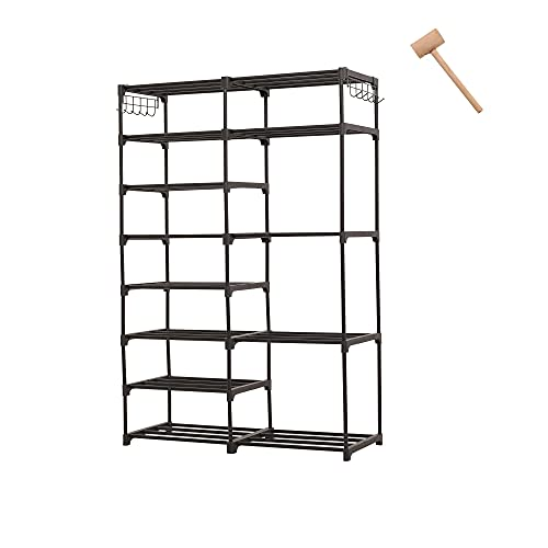 IMVELY 8-Tier Tall Shoe Rack Organizer,24-35 Pairs Metal Shoe Rack for Closet,Shoe Stand,Shoe Shelf,Show Rack,Shoe Storage Cabinet For Entryway Bedroom Living Room Office,Black