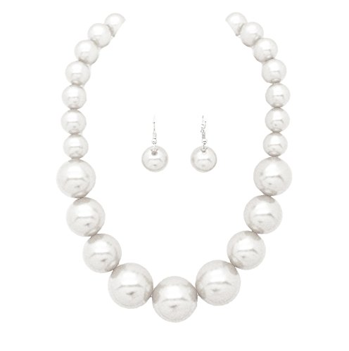 Fashion 21 Women's Large Big Simulated Pearl Statement 18' Necklace and Earrings Set (White)