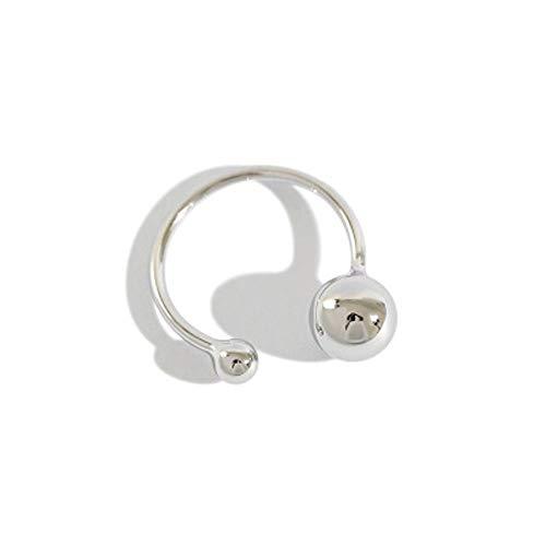 Anillo abierto de plata de ley S925 con doble bola, minimalista, ajustable, delicado, anillo de compromiso para mujeres, niñas, para su novia, joyería de regalo