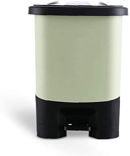 Papelera rectangular de basura de basura Pedal de Pedal con plástico extraíble Compacto Papelera interior Babes de bisagras Sello suave de sello blando desodorante y huella digital sanitaria,Verde
