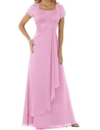 HUINI Abendkleider Chiffon Lang Brautmutterkleider Hochzeitskleider Empire Ballkleider Kurzarm Festkleider Rosa 42