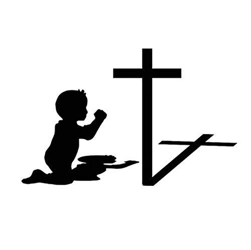 (5p)16 * 10 CM Kinder Im Gebet Kreuz Auto Aufkleber Aufkleber Motorrad Zubehör Auto Styling