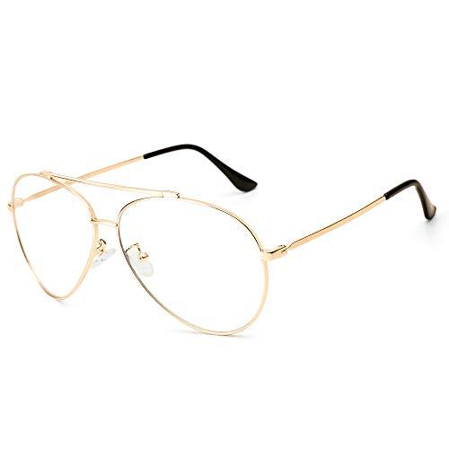Cyxus Anti luz Azul Bloqueo UV Gafas Lente Amarilla Puente Doble contra la Fatiga Ocular Gafas Aviador Unisex (Negro) (Lente Transparente Marco Oro)