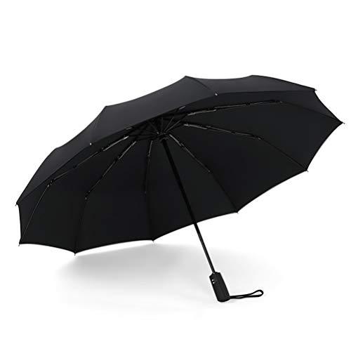 DFSDG Paraguas de doble capa resistente al viento, totalmente automáticos, paraguas para hombre y mujer, tres paraguas plegable comercial, marco grande y duradero (color negro)