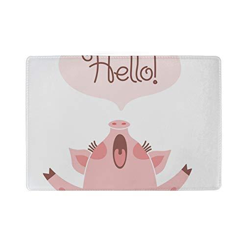 Schwein Hello Reisepasshülle aus Leder für Damen und Herren