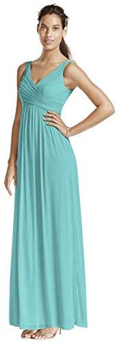 David's Bridal Long Mesh Bridesmaid Dress with Cowl Back Detail Style F15933, Spa, 14