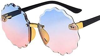 weichuang - weichuang Gafas de sol para niños con montura redonda sin montura para niños, color gris, rosa, azul, lentes modernas, protección UV400, gafas de sol para niños (lentes de color: C1 azul y rosa).