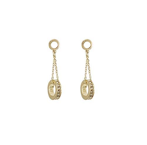 Vintage Hollow Metal Rhinestone Hoop Chain Stitching Drop Earring Korean Circle Pendent Earrings for Women Girl Ear Jewelry Gift 2pcs