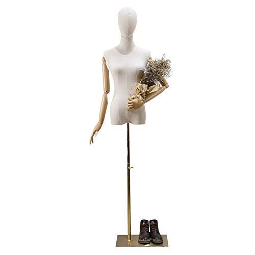 yanzhen Manichino Sartoriale Busto Donna Forma del Vestito Partita di Abbigliamento Braccio di Legno Base Stabile Designer Show, 3 Colori 2 Dimensioni (Color : Gold, Size : S)