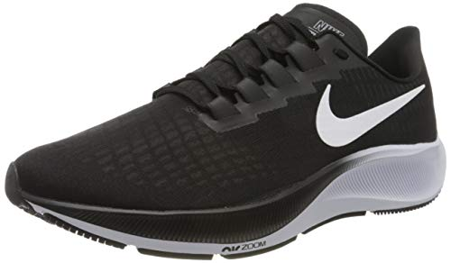 Nike Mens AIR Zoom Pegasus 37 Running Shoe, BLACK/WHITE, 44