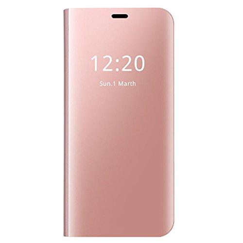 Neivi Coque Compatible pour Samsung Galaxy S7 / S7 Edge Transparent Clair Miroir Couverture S-Vue (Or Rose, Galaxy S7 Edge)