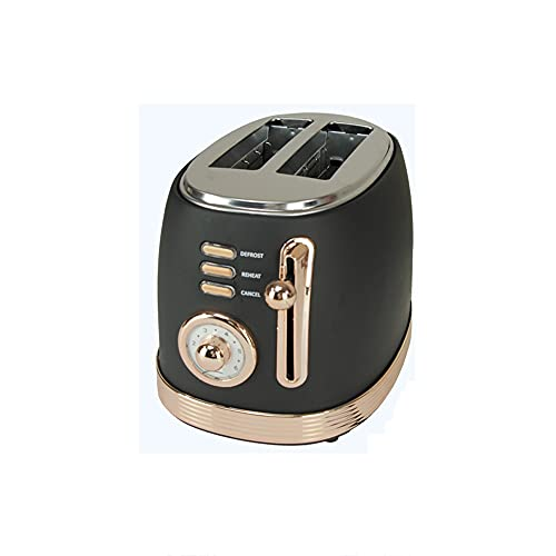 ANGLED-large capacity 2 Slice Toaster Retro Toaster with Cancel, Automatic pop-up function,Defrost Function and 6 Bread Shade Set up Bread Toaster, Extra Wide Slot and Removable Crumb Tray(black) High