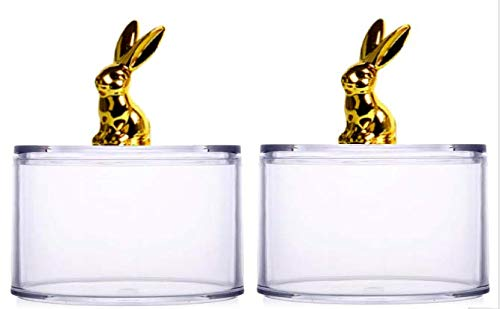 Homies, Set of 2, Acrylic Mason Jars Canister with Golden Bunny Rabbit Lids (Size: 12.5 * 7.5 cm)
