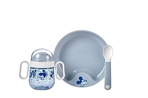 Mepal Mio – Juego de vajilla para bebé, diseño de Mickey Mouse, 3 piezas, incluye biberón, plato de aprendizaje y cuchara de aprendizaje, regalo ideal para nacimiento, apto para lavavajillas