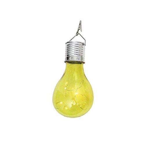 Ledmomo solaire ampoule rotatif ampoule lampe LED à suspendre étanche pour extérieur Jardin Coque (Jaune)