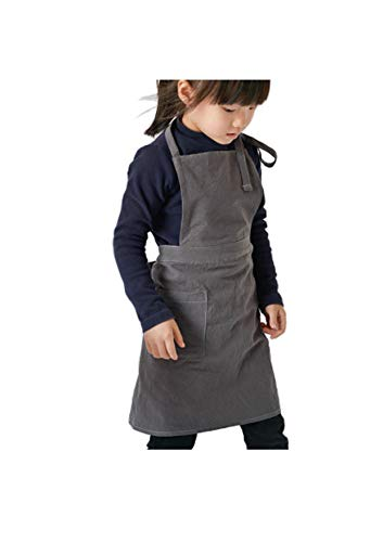 FUYUFU Unisexe Enfant Tablier de Peinture en Coton Lin Tablier de Cuisine pour Garçon et Fille Tablier de Travail pour Café BBQ Jardinage Peinture (M)