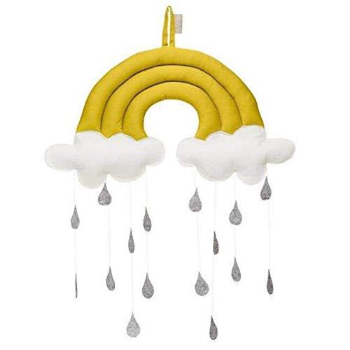 Alician Hängevorhang für Kinder, Regenbogen-Regentropfen, Cottoon, Heimdekoration, Zelt, Zubehör, Haushaltsbedarf gelb