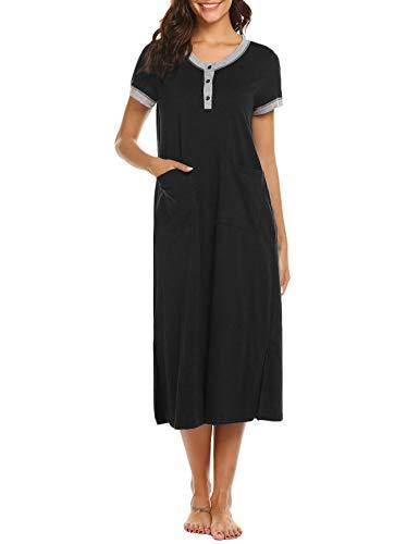 Ekoauer Womens Sleepshirts Long Nightshirt Button Front Loungewear Casual Nightgowns with Pockets Black,Medium