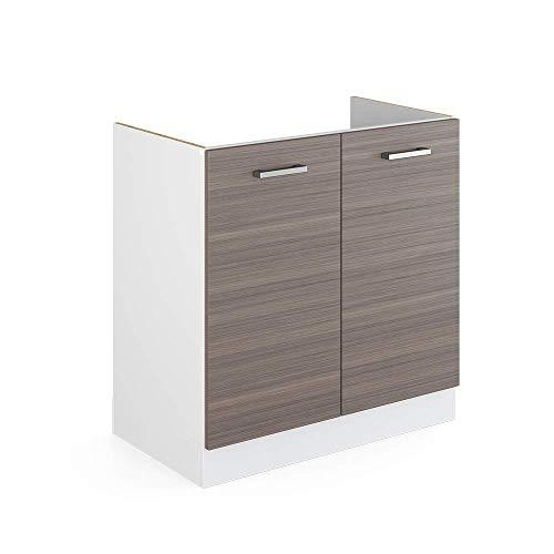 Vicco Küchenschrank R-Line Hängeschrank Unterschrank Küchenzeile Küchenunterschrank Arbeitsplatte, Möbel verfügbar in anthrazit und weiß (edelgrau ohne Arbeitsplatte, Spülenunterschrank 80 cm)