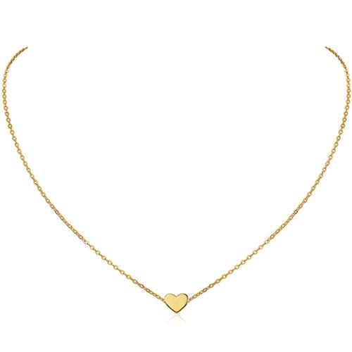 ChicSilver Collares Románticos Mujeres Chapado en Oro Amarillo 18K Plata de Ley 925 Corazón Pequeño Colgante Collar Joyería de Boda Encanto de Mujer Pareja Amor Amiga