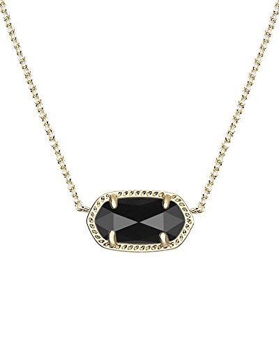 Kendra Scott Elisa Pendant Necklace - Black - Versatile Necklace - 0.63' Length X 0.38' Width Stationary Pendant, Black Opaque Glass Setting, 15' Chain with 2' Extender, Lobster Claw Closure