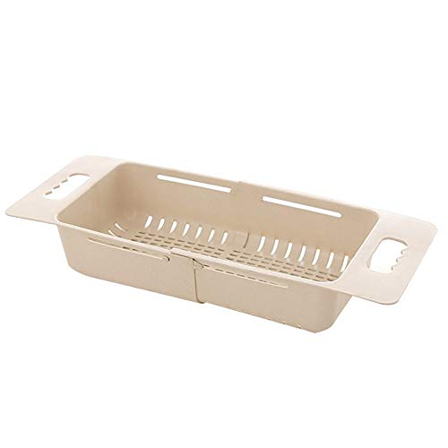 LCM Abflusskorb mit ausziehbarem Abflusskorb für Küche, faltbar, Kunststoff, Abtropfgestell, flexibles Abtropfgestell, faltbarer Gemüsefilter, Lebensmittelsieb (Farbe: Beige)