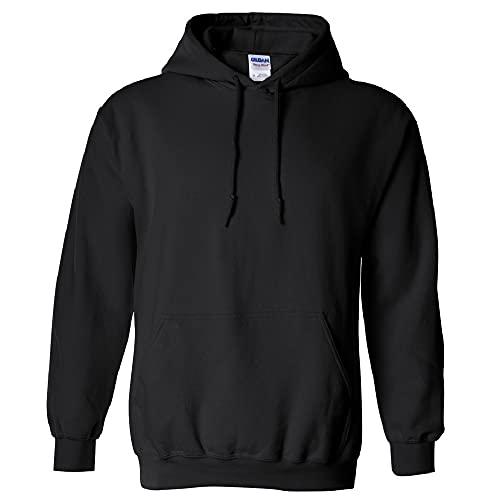 Gildan Men's Fleece Hooded Sweatshirt, Style G18500, Black, Large