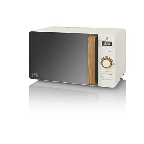 31iwxvyVpDL. SS500  - Swan SM22036WHTN, Nordic Digital Microwave, Wood Effect Handle, Soft Touch Housing and Matt Finish, 800W, Cotton White